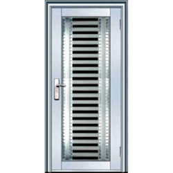 Silver Stainless Steel Entry Door, Shape:Rectangular