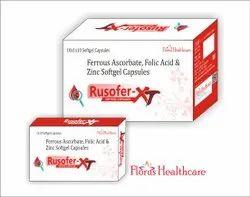 Ferrous Ascorbate, Folic Acid & Zinc Softgel Capsules, Florus Healthcare, 10x1x10