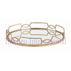 Metal and Mirror Decorative Serving Tray