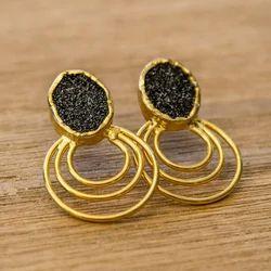 Druzy Gemstone Gold Plated Geometric Studs Earrings