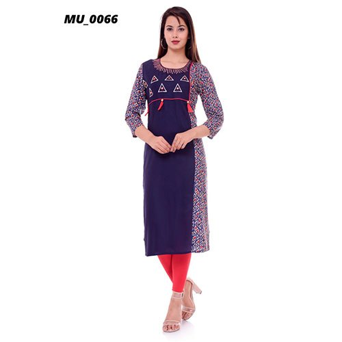 Casual Wear 3/4th Sleeve A-Line Cotton Ladies Printed Kurti, Machine wash, Size: S-XXL