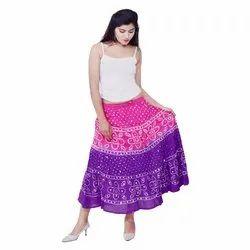 JaipurOnlineShop Long Rajasthani Hand Printed Cotton Skirt, Size: Regular