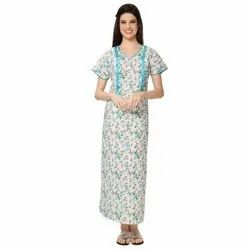 Full Length Half Sleeves Ladies Cotton Printed Maxi Night Dress