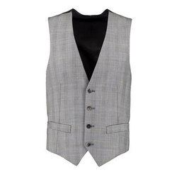 Poly Cotton Mens Grey Slim Fit Waistcoat