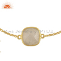 Rainbow Moonstone Womens Gold Plated Silver Bracelet