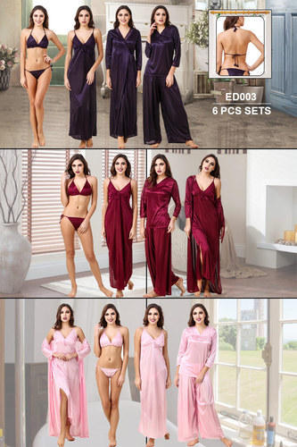 Fasense Women  s Lycra Full Length 6 Pcs Sets Night Dress 4fb649440