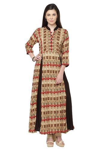 Rayon Printed Fancy Partywear Gown Style Long Kurti Rs 800 Piece