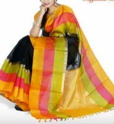 Yellow With Black Kuppadam Silk Saree