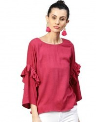 Women Maroon Solid Straight Dobby Top