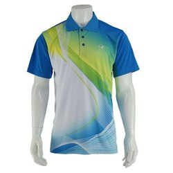 Printed Polyester Mens Collar Neck Sports T Shirt, Size: S-XXL