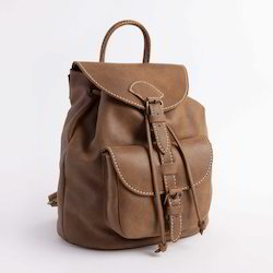 Brown/black Adel International Convertible Leather Backpack, Pure Leather: Yes