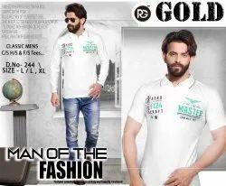 Mens White Cotton T Shirt