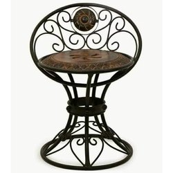 Modern Wooden And Wrought Iron Chair