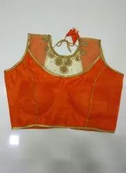 Orange Art Silk Handwork Blouse