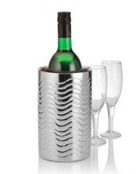 Stainless Steel Double Wall Wavy Design Wine Cooler Chiller Holder