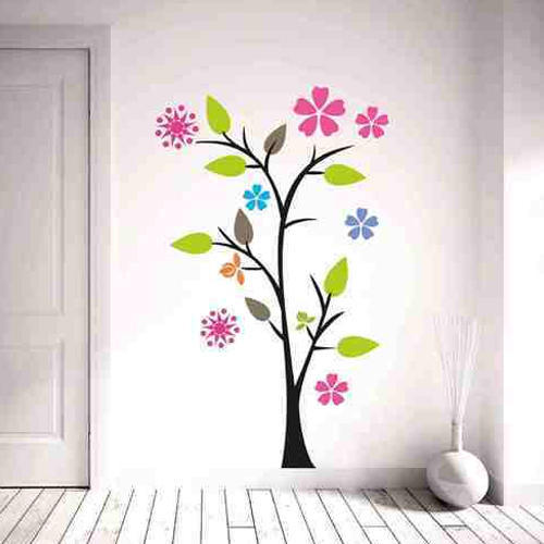 multicolor colourful tree wall sticker, size/dimension: 48x29 inches