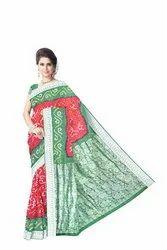 Red and Green Color Dupion Silk Bandhani Saree