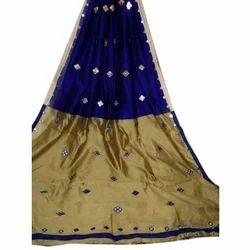 Silk Cotton Mirror Work Saree with Blouse Piece