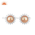 White Rhodium Plated Silver CZ Pearl Gemstone Earrings
