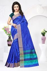 PR Fashion New Royal Blue Cotton Silk Saree