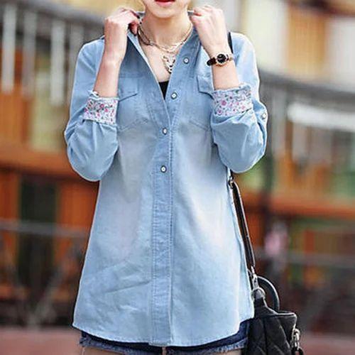 97ce806b41c Sky Blue Girls Denim Shirt
