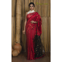 Khadi Matka Silk Saree in Red and Black