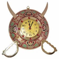 Brass Dhal Talwar With Clock