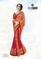 8ca4ac8e3b Party Wear Saree - Indian Women Orange & Red Two Tone Chiffon ...