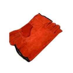 Men Red Leather Safety Gloves, Size: Free