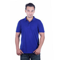Mens Solid Blue Polo T-Shirt