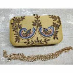 Designer Potli Bag  Zardosi Hand Embroidered Silk Handbag Pearl Handle Tassel Purse