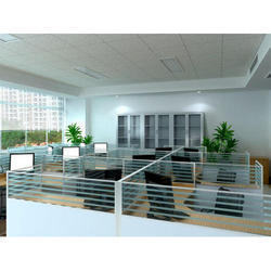 Striped Half Height Glass Partition