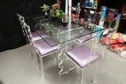 Standard Height Transparent Imported Cast Acrylic Dining Table