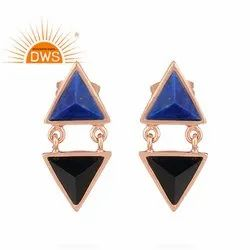 Triangle Shaped Black Onyx Lapis Lazuli Rose Gold Plated Silver Stud Earrings Jewelry