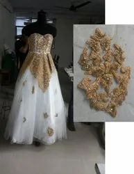 Custom Bridal Gown - Hand Embroidered With Golden Zari Work