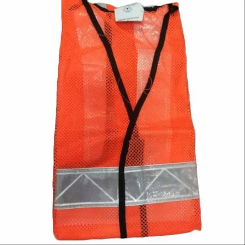 Orange Polyester Reflective Safety Jacket, Packaging Type: Packet, for Construction
