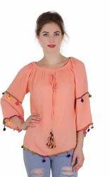 Orange Reyon Tops
