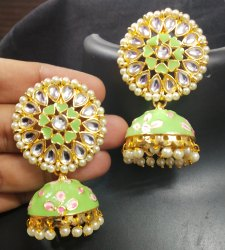 Multicolor Copper Meenakari Jhumki Earrigs