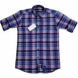 Cotton Collar Neck Men Designer Check Shirt
