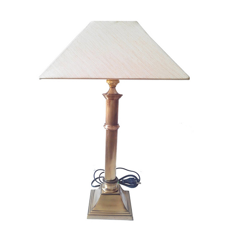 Antique Br Pillar Table Lamp With 10