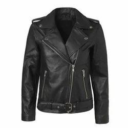 Black Ladies Biker Genuine Leather Jacket, Packaging Type: Poly Bag