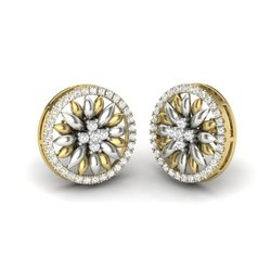 Disa Designer Diamonds Charm Stud Earrings. 18K Yellow Gold 1.17 Ct IJ-SI