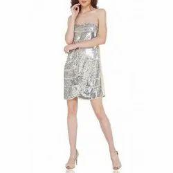 Silver Bustier Sequin Dress