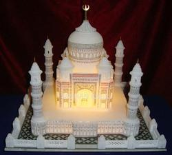 Marble Taj Mahal Model with Lighting