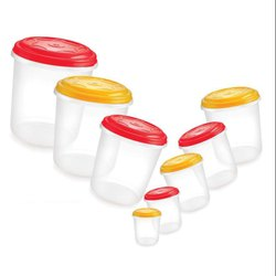 Plastic Air Tight Airtight Container Set, For Food Storage, Round
