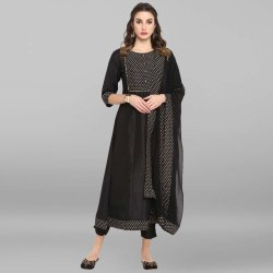 Black Poly Silk Kurta With Pant And Dupatta