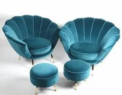 Leather Round Easy chairs with stool, for Home
