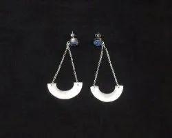 Blue Druzy Round Shape Silver Plated Gemstone Earring Set