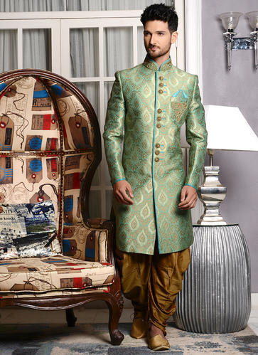 Kesari Exports Green Dhoti Sherwani For Shadi