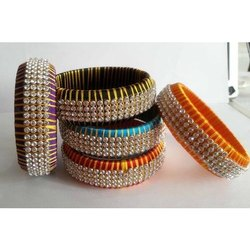Neon Color Silk Thread Bangle with Stones